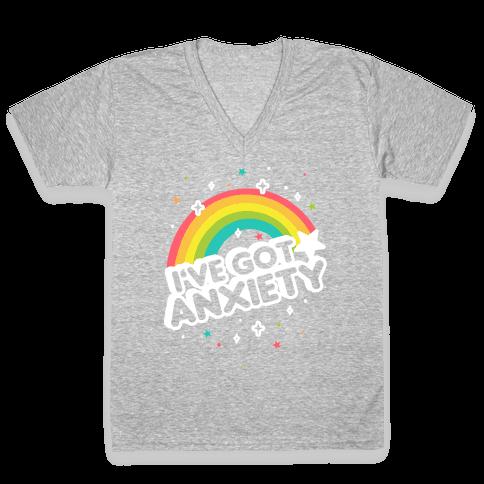 I've Got Anxiety Rainbow V-Neck Tee Shirt