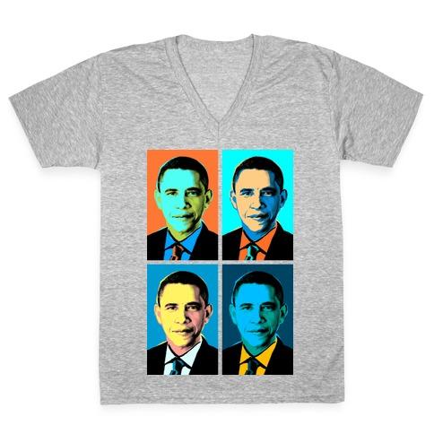 Pop Art Obama V-Neck Tee Shirt