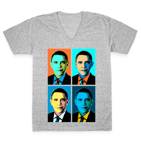 Pop Art Obama V-Neck Tee Shirt