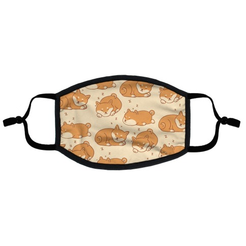 Sleepy Shibe Pattern Flat Face Mask