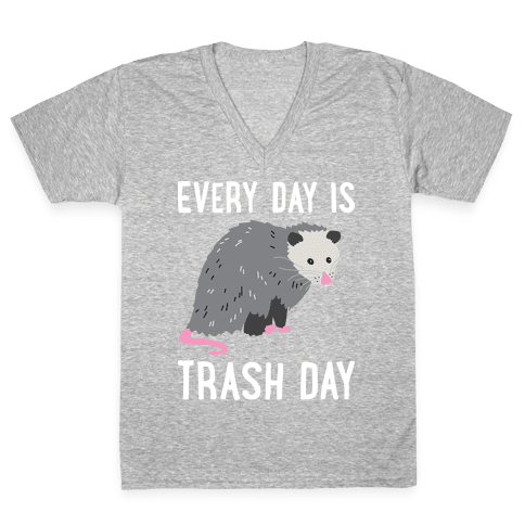 Every Day Is Trash Day Opossum V-Neck Tee Shirt