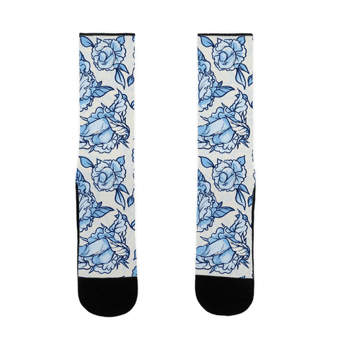 Floral Penis Pattern Blue Sock