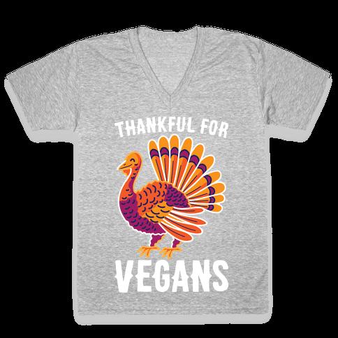 Thankful For Vegans V-Neck Tee Shirt