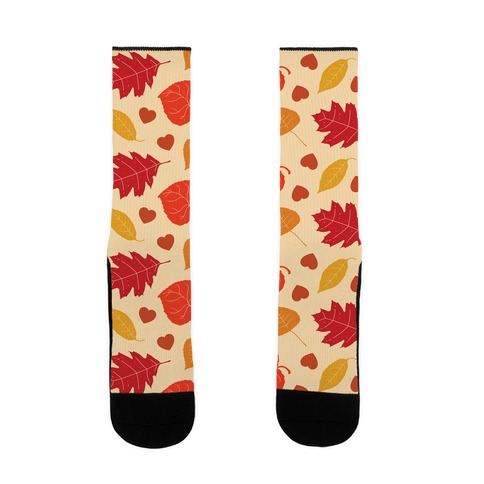 Autumn Leaves and Hearts Pattern Sock