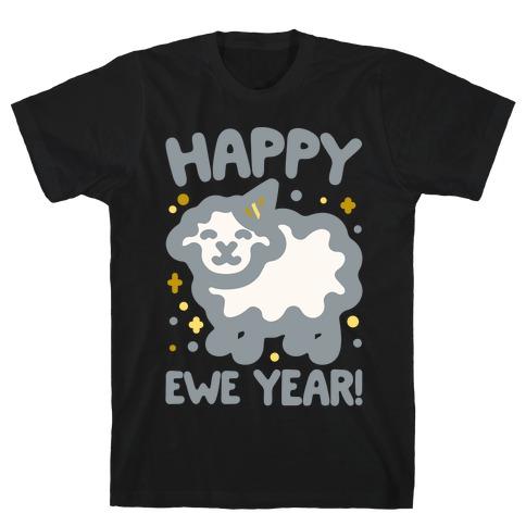 Happy Ewe Year White Print T-Shirt