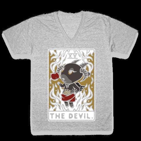 The Devil Tarot Card Animal Crossing Parody V-Neck Tee Shirt