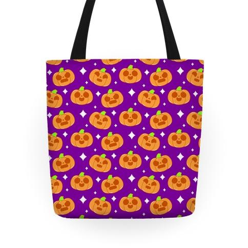 Kawaii Pumpkins Pattern Orange Tote