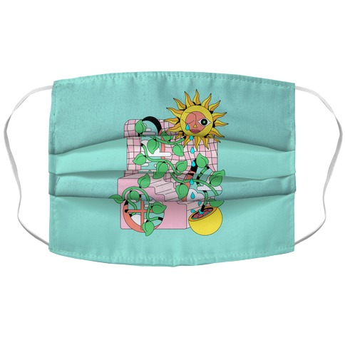 Trippy Sunflower Shower  Accordion Face Mask