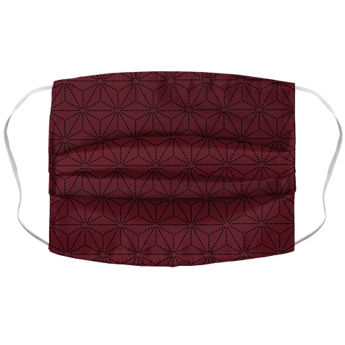 Sashiko Asanoha (Burgundy) Accordion Face Mask