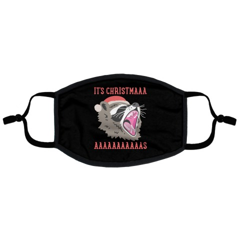 It's Christmas Screaming Raccoon Flat Face Mask