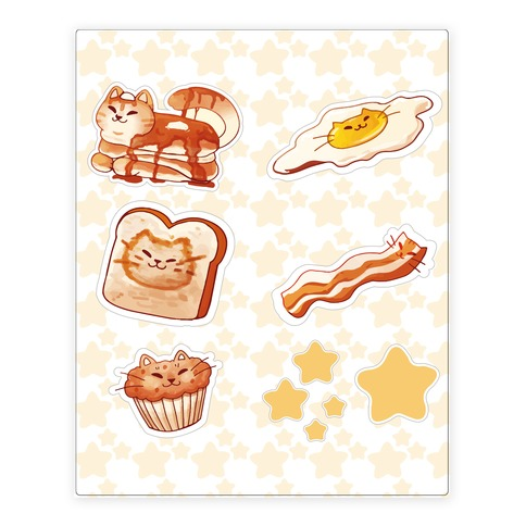 Breakfast Cats Stickers and Decal Sheet