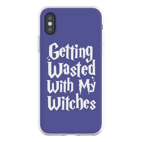 Getting Wasted With My Witches White Font Phone Flexi-Case