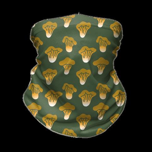 Golden Oyster Mushroom Green Pattern Neck Gaiter