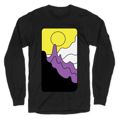 Groovy Pride Flag Landscapes: Nonbinary Flag Long Sleeve T-Shirt