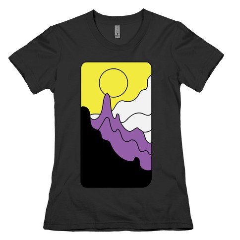 Groovy Pride Flag Landscapes: Nonbinary Flag Womens T-Shirt