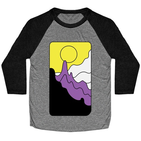 Groovy Pride Flag Landscapes: Nonbinary Flag Baseball Tee