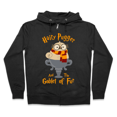 Hairy Pugger and the Goblet of Fur Zip Hoodie