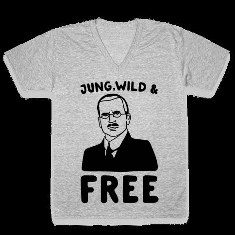 Jung Wild & Free Parody V-Neck Tee Shirt