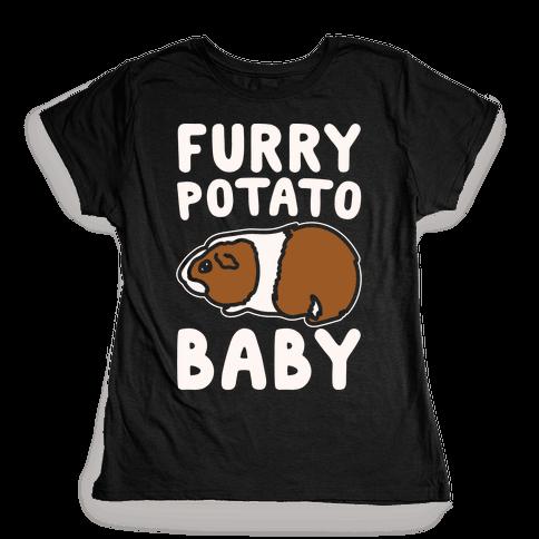 Furry Potato Baby Guinea Pig Parody White Print Womens T-Shirt