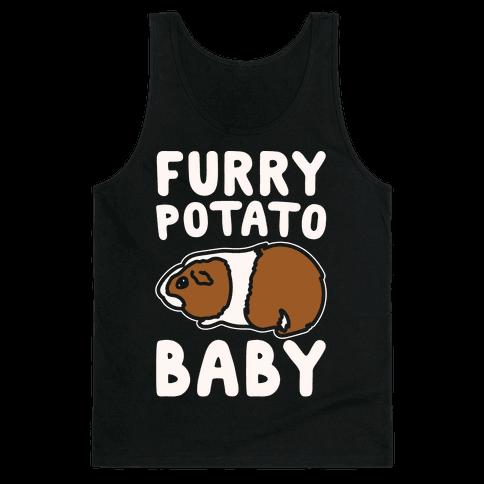 Furry Potato Baby Guinea Pig Parody White Print Tank Top