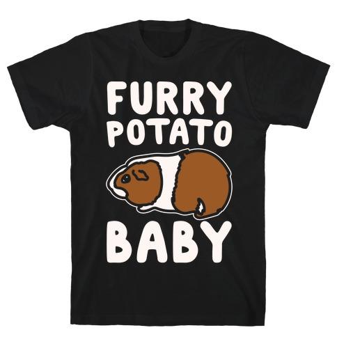 Furry Potato Baby Guinea Pig Parody White Print T-Shirt