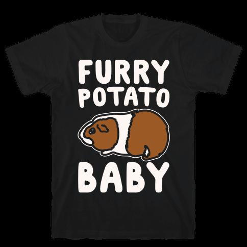 Furry Potato Baby Guinea Pig Parody White Print Mens T-Shirt