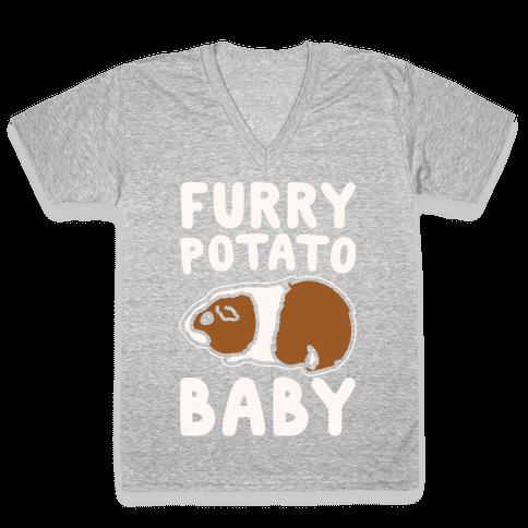 Furry Potato Baby Guinea Pig Parody White Print V-Neck Tee Shirt