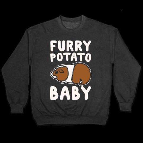 Furry Potato Baby Guinea Pig Parody White Print Pullover