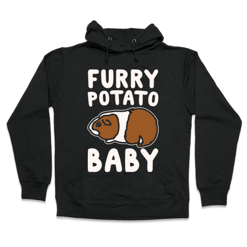 Furry Potato Baby Guinea Pig Parody White Print Hooded Sweatshirt