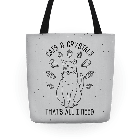 Cats and Crystals Black Lines Tote