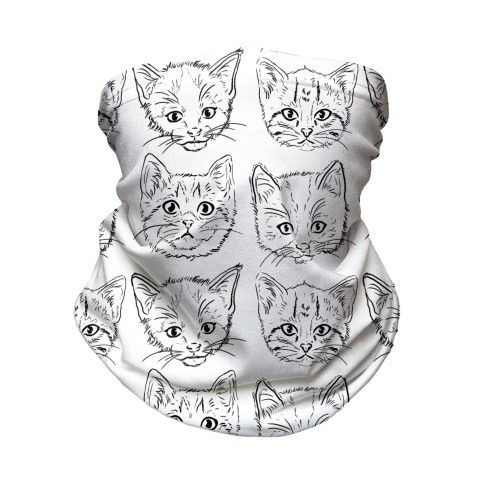 Black and White Kitten Square Pattern Neck Gaiter