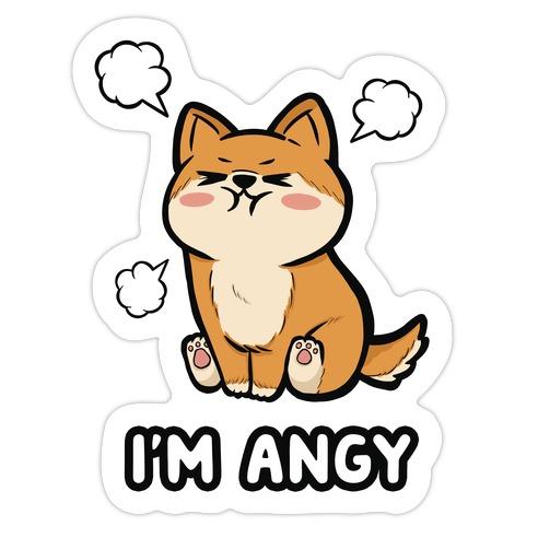I'm Angy Shiba Inu Die Cut Sticker