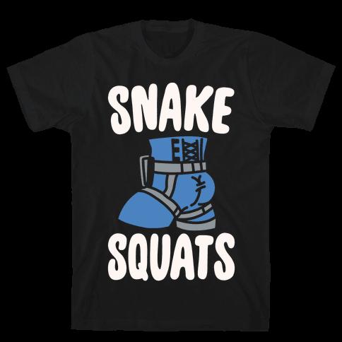 Snake Squats Parody White Print Mens T-Shirt