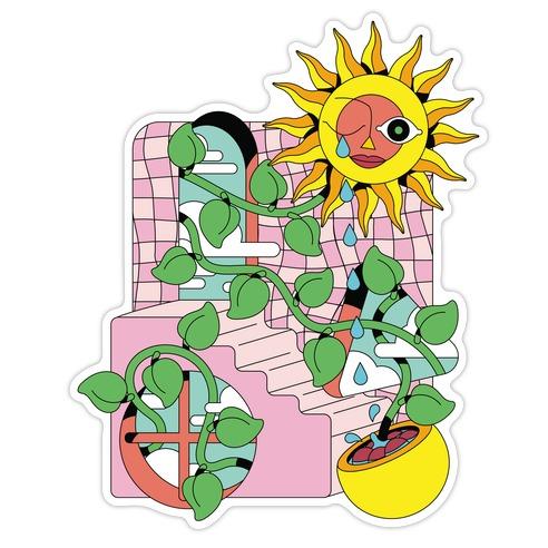 Trippy Sunflower Shower  Die Cut Sticker
