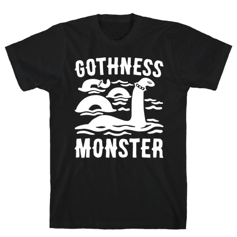 Gothness Monster Parody White Print T-Shirt