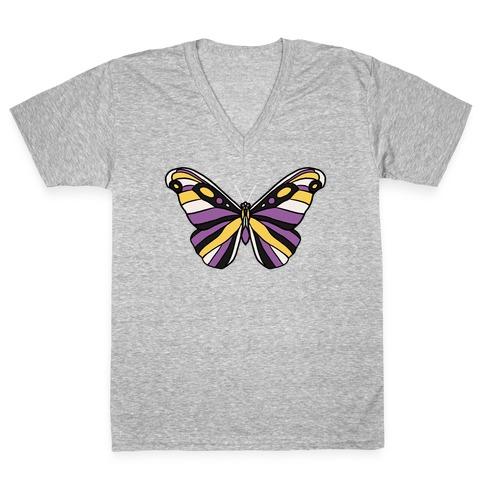 Non-binary Butterfly V-Neck Tee Shirt
