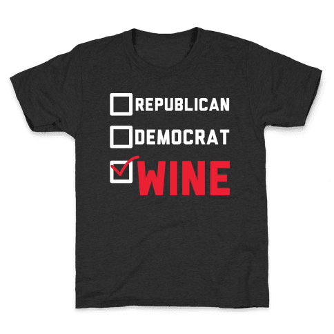 Republican Democrat Wine wht Kids T-Shirt