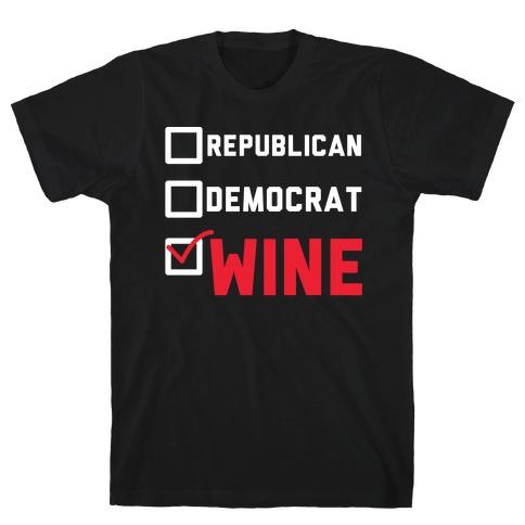 Republican Democrat Wine wht T-Shirt