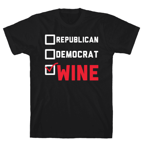 Republican Democrat Wine wht Mens T-Shirt