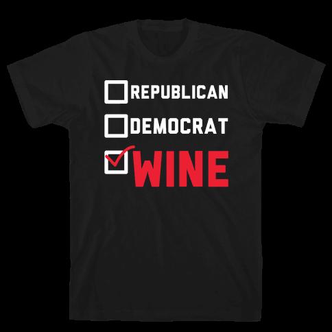 Republican Democrat Wine wht Mens T-Shirt