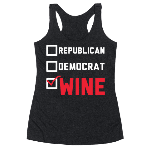 Republican Democrat Wine wht Racerback Tank Top