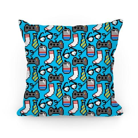 Pixel Gamer Dad Pattern Pillow