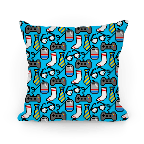 Pixel Gamer Dad Pattern Pillow