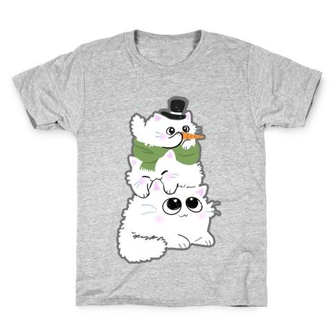Cat Stack Snowman Kids T-Shirt