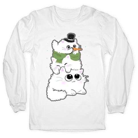 Cat Stack Snowman Long Sleeve T-Shirt