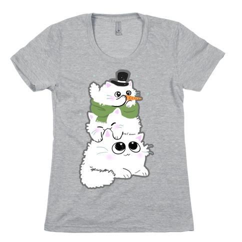 Cat Stack Snowman Womens T-Shirt