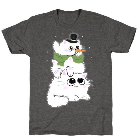 Cat Stack Snowman T-Shirt