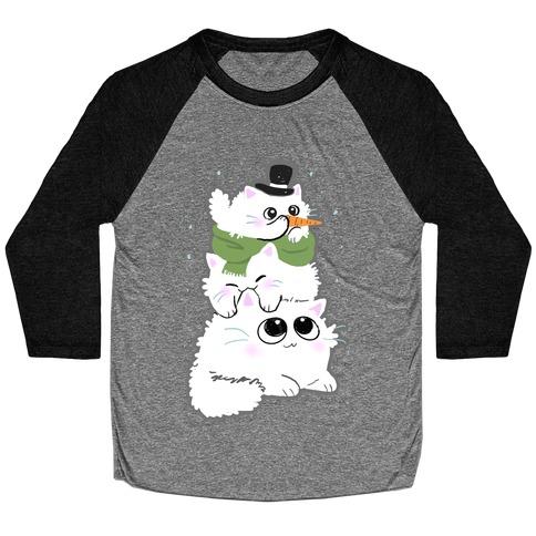 Cat Stack Snowman Baseball Tee