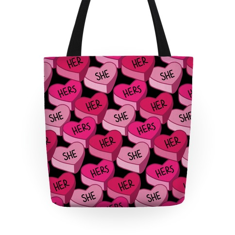 Female Pronoun Candy Hearts Tote