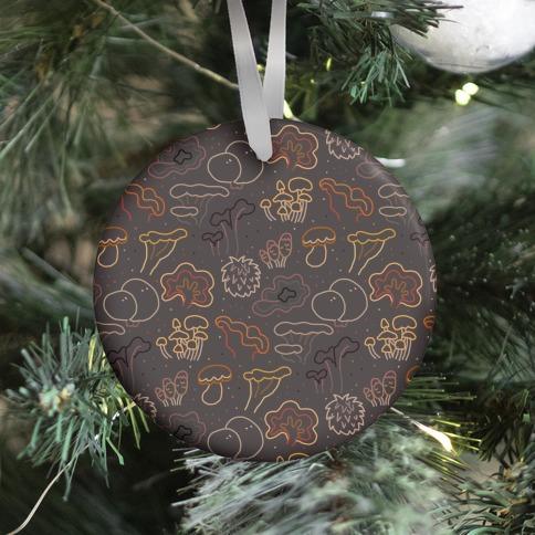 Fall Mushrooms (Dark Background)  Ornament